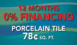 Porcelain tile 78¢ sq.ft. plus free in-home estimates and 12 month 0% interest financing during the National Flooring Extravaganza Sale at Floors To Go in Anniston!